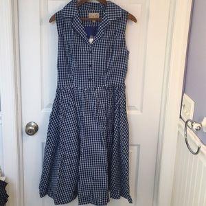 Lindy Bop Cotton Plaid Collared Shirt Dress